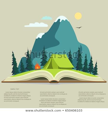 cartoon · papieru · krajobraz · górskich · Chmura · słońce - zdjęcia stock © andrei_