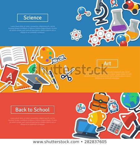 De volta à escola bandeira conjunto educação crianças livro Foto stock © vasilixa