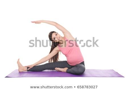 молодые · беременная · женщина · йога · домой · женщину - Сток-фото © dashapetrenko