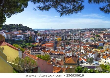 Városkép erőd kilátás történelmi ágyú Lisszabon Stock fotó © jeayesy