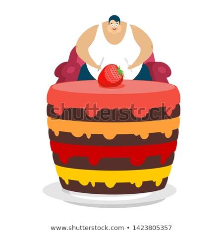 Grasso ragazzo seduta sedia torta uomo Foto d'archivio © popaukropa