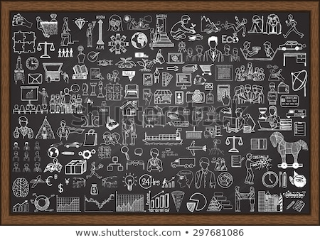 hand drawn data analysis on office chalkboard stock photo © tashatuvango