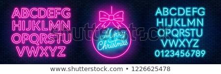 merry christmas blue pink neon sign stock photo © voysla