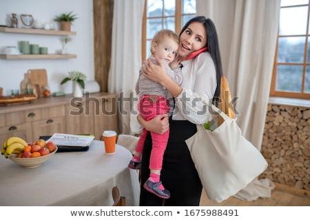 Fiatal nő kávéház baba nő gyermek fiatal Stock fotó © IS2