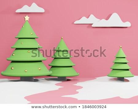 Winter sneeuwvlok kleur 3D abstract Stockfoto © user_11870380