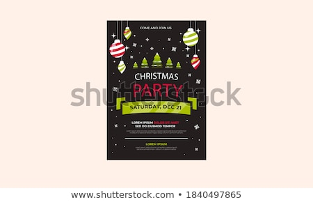 vector merry christmas party design with holiday typography elements and multicolor ornamental balls stock photo © articular