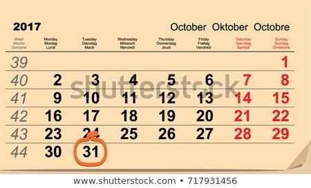 31 October 2017 Halloween. Calendar date reminder form pumpkin lantern Stock photo © orensila