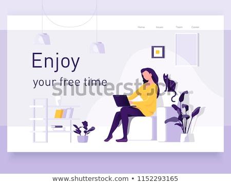 Mooie jonge vrouw man werken kantoor aan huis moderne Stockfoto © vlad_star