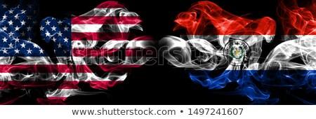 Piłka nożna płomienie banderą Paragwaj czarny 3d ilustracji Zdjęcia stock © MikhailMishchenko