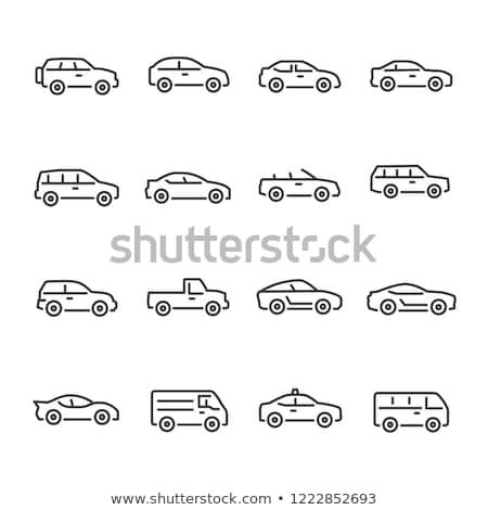 voiture · électrique · ligne · icône · vecteur · isolé · blanche - photo stock © voysla