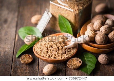 Nootmuskaat poeder drie voedsel moer macro Stockfoto © Hofmeester