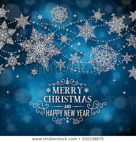 Noel happy new year afiş karanlık kar taneleri dizayn Stok fotoğraf © Leo_Edition