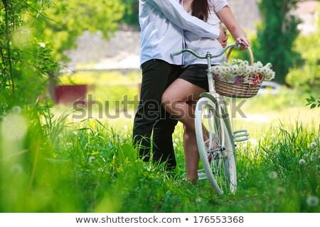 Pareja · cesta · de · picnic · campo · hombre · diversión · caminando - foto stock © is2