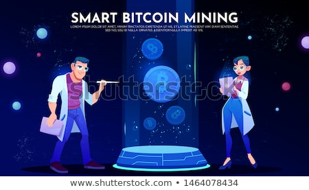 3d business woman mining a cryptocurrency bitcoin stock photo © texelart