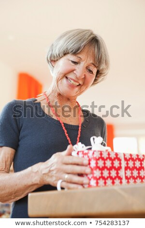 Old woman inspecting christmas present Stock photo © IS2