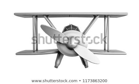 3d render kétfedelű repülőgép szürke fehér égbolt repülőgép Stock fotó © anadmist