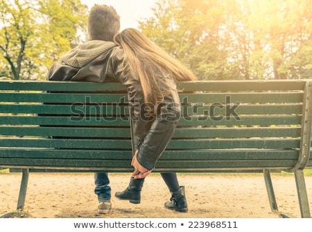 Stok fotoğraf: çift · oturma · birlikte · park · müzik