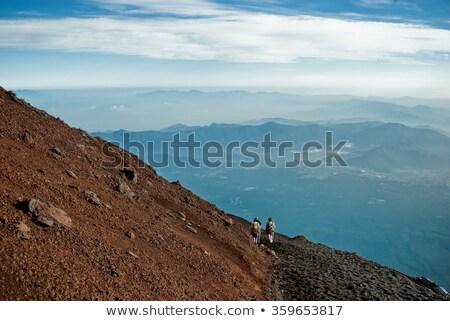 Sunrise Mount Fuji fallen Landschaft Berg blau Stock foto © craig