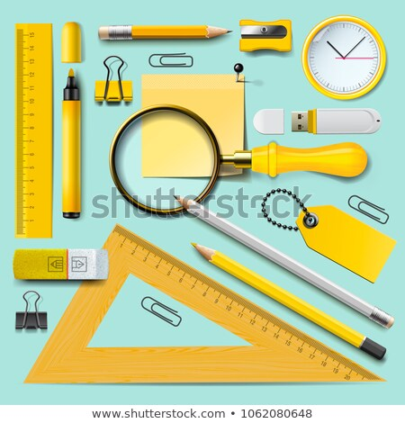 school supplies yellow stationery accessories on mint background top view vector illustration stock photo © ikopylov