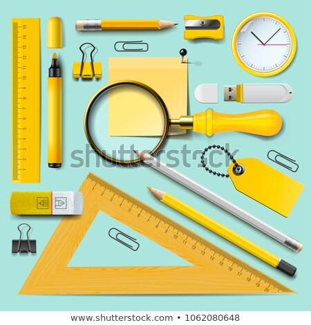 Przybory szkolne żółty materiały biurowe mięty górę Zdjęcia stock © ikopylov