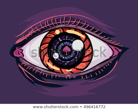 Pszichedelikus gomba szem szenvedélybeteg illusztráció emberi Stock fotó © lenm
