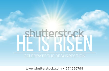 Easter Holiday illustration with cloud on blue sky background. He is risen. Vector Christian religio Stock photo © articular