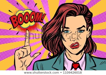 Bumm erős nő mutatóujj felfelé pop art Stock fotó © studiostoks