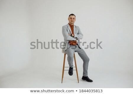 portret · man · zwarte · smoking · permanente - stockfoto © feedough