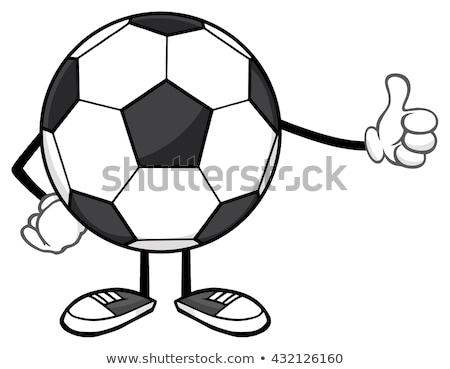 футбольным мячом мультфильм талисман характер большой палец руки вверх изолированный Сток-фото © hittoon