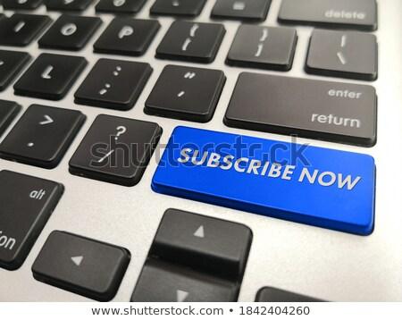 Teclado azul botão boletim informativo internet e-mail Foto stock © Zerbor