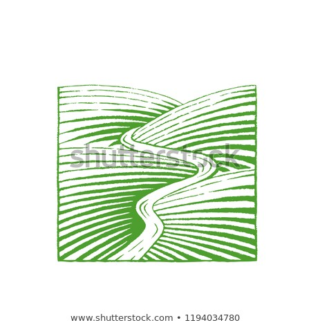Stock photo: Green Vectorized Ink Sketch of Hills and River Illustration