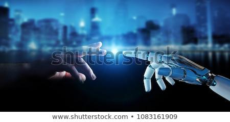 Robot emberi kéz kapcsolódik ujjak mesterséges intelligencia jövő Stock fotó © dolgachov