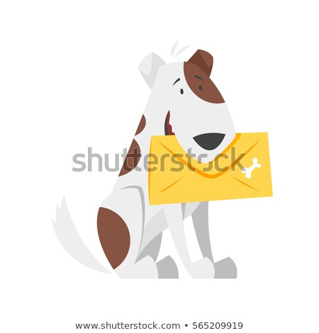 Cartoon Smiling Mail Carrier Puppy Stock photo © cthoman
