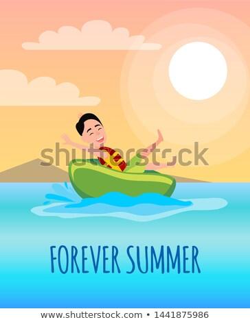 Para sempre verão cartaz menino borracha rosquinha Foto stock © robuart