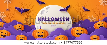 scary halloween orange banner with spider web and flying bats Stock photo © SArts