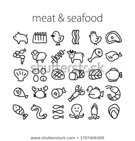 Ruw varkensvlees biefstuk vector vlees icon Stockfoto © MarySan