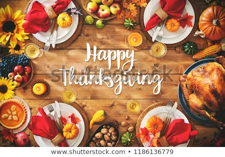 turkey and text happy thanksgiving day stock photo © nito