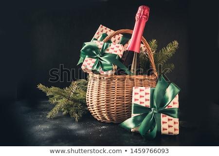 karácsony · ajándékdobozok · pezsgő · üveg · karácsony · fenyőfa - stock fotó © karandaev
