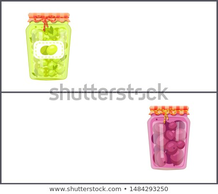 Preserved Food Banners Set with Olives and Plum Stock photo © robuart