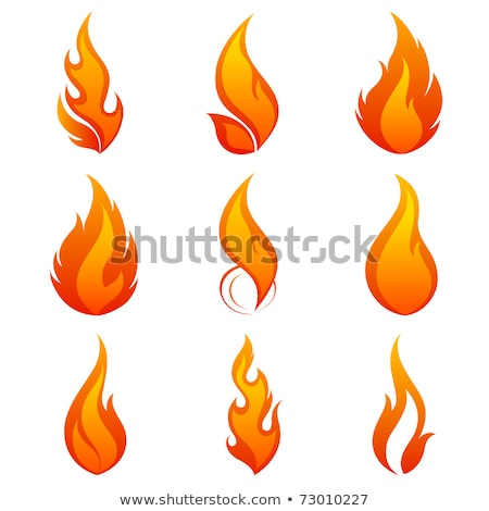 Fire flames with sparks colored vector set Stock photo © Ecelop