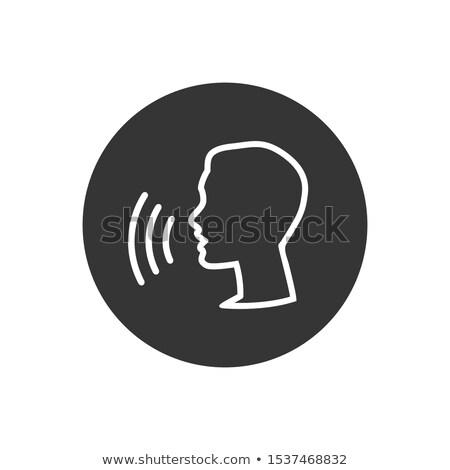 Chat felhasználó ikon piktogram szürke kommunikáció Stock fotó © kyryloff
