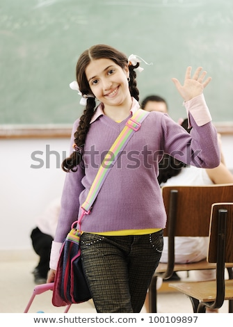 Schoolmeisje gezegde hallo klas illustratie meisje Stockfoto © colematt