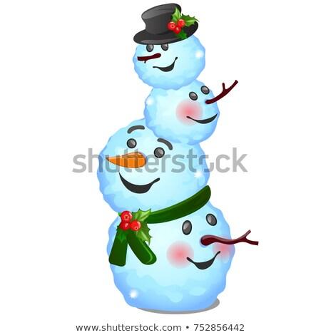 смешные снеговик изолированный белый эскиз Сток-фото © Lady-Luck