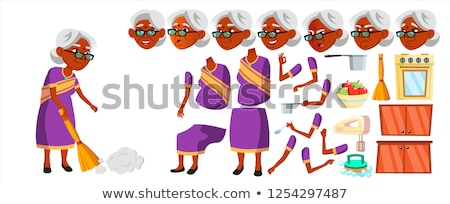 Indian Old Woman Set Vector. Elderly People. Hindu In Sari. Senior Person. Aged. Friendly Grandparen Stock photo © pikepicture