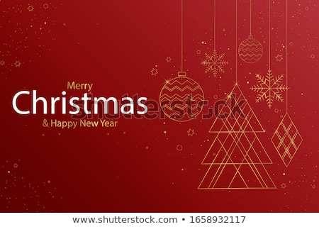 merry christmas snowflakes balls line banner design stock photo © sarts