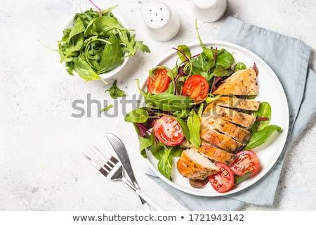 Dieet voedsel Rood vis gekookt broccoli Stockfoto © tycoon