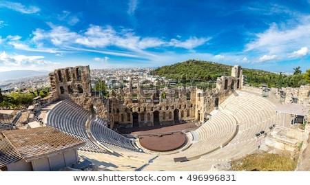 Foto stock: Anfiteatro · Acrópole · Atenas · ver · flores · Grécia