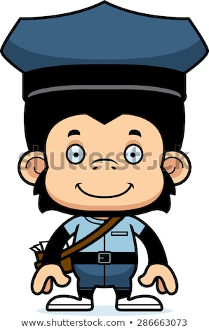 Cartoon Smiling Mail Carrier Chimpanzee Stock photo © cthoman