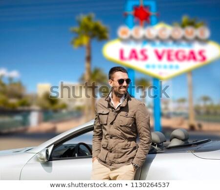 Feliz homem carro Las Vegas estrada trio Foto stock © dolgachov