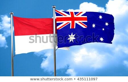 Kettő integet zászlók Ausztrália Indonézia izolált Stock fotó © MikhailMishchenko